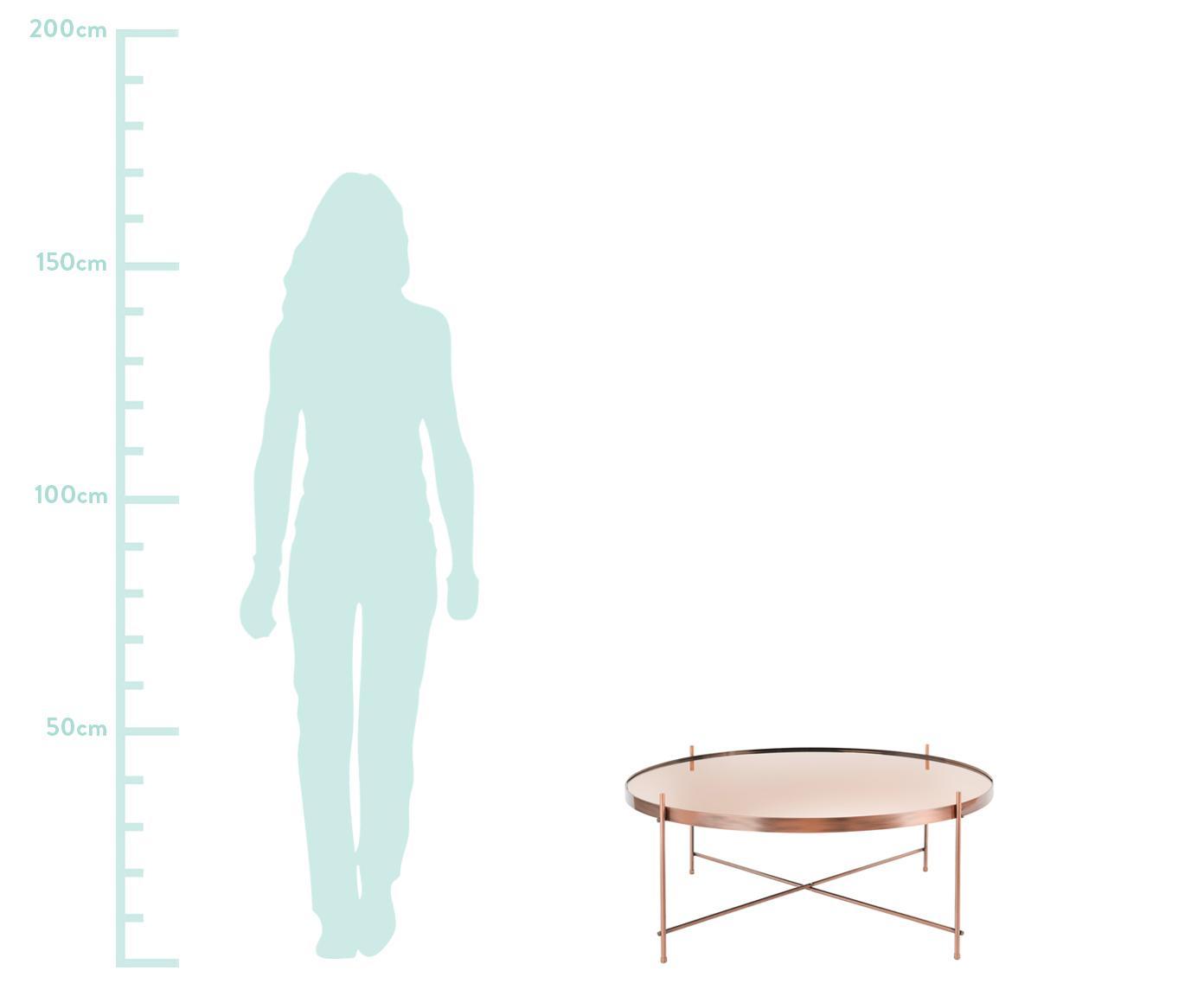 Mesa de centro redonda Cupid, tablero de cristal, Estructura: metal, cobre, Tablero: vidrio, Cobre, Ø 83 x Al 35 cm