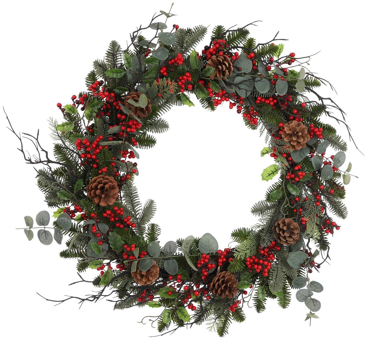 Corona navideña Addy, Plástico (PVC), Verde, rojo, Ø 70 x Al 10 cm