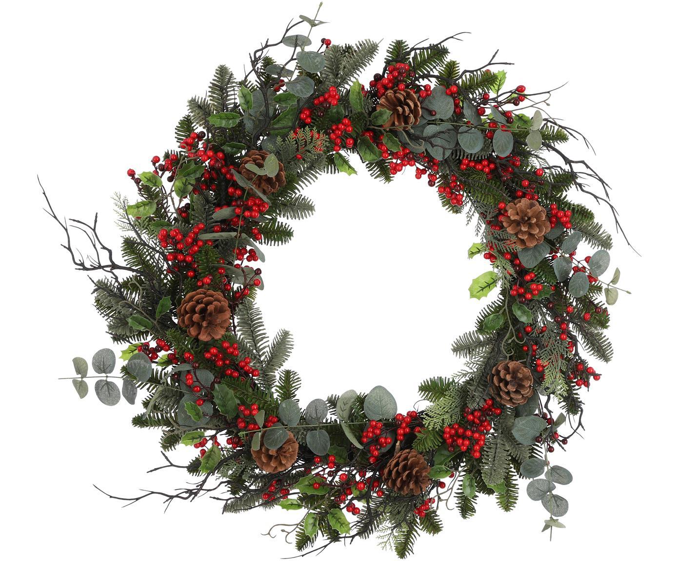 Künstlicher Weihnachtskranz Addy, Kunststoff (PVC), Grün, Rot, Ø 70 x H 10 cm