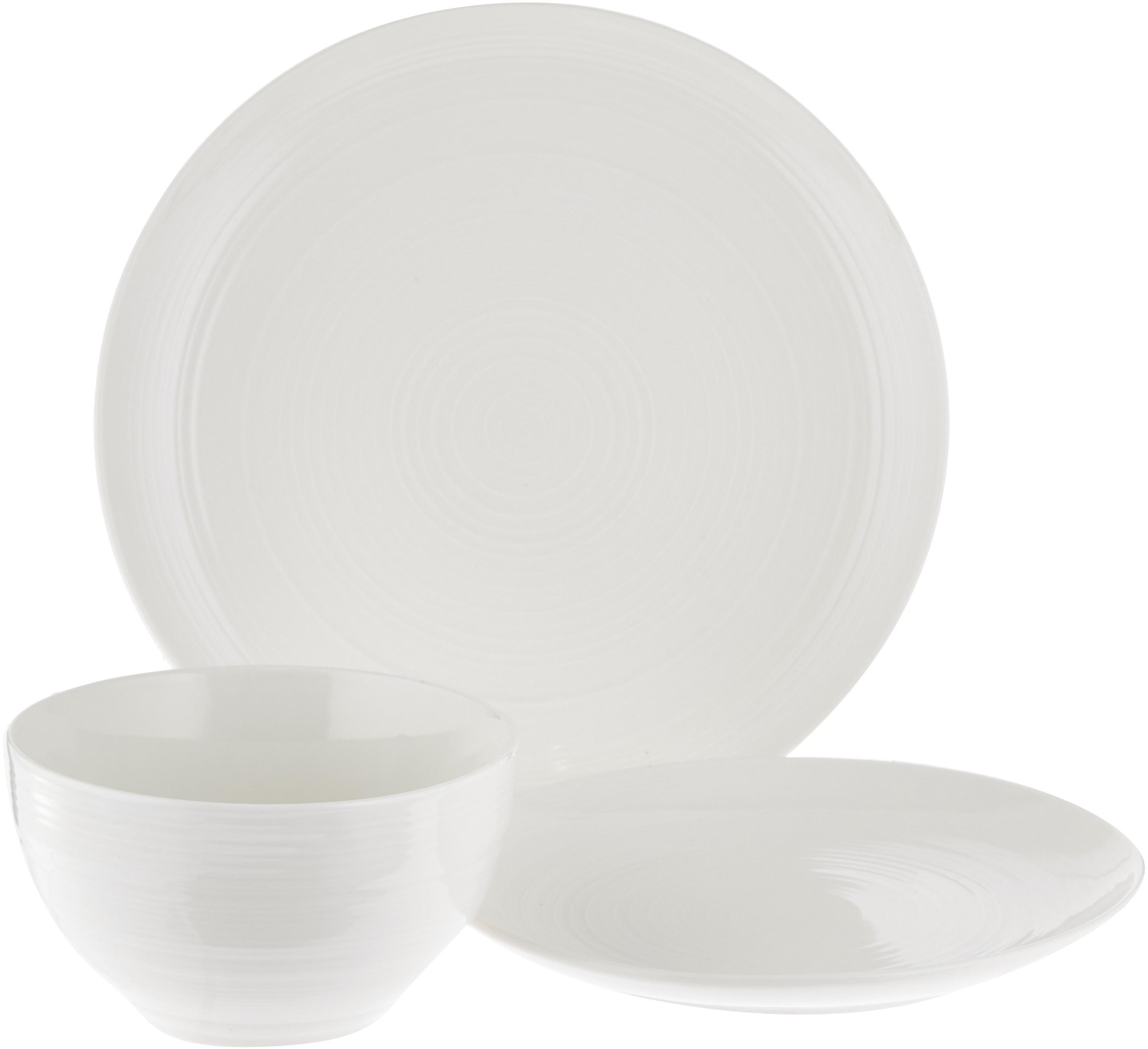 Set 12 piatti con superficie strutturata Darby, New bone china, Bianco, Diverse dimensioni