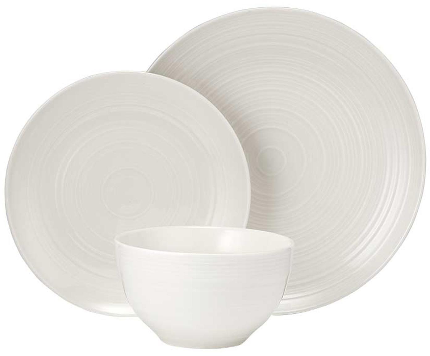 Set di piatti Darby 12 pz, New bone china, Bianco, Diverse dimensioni