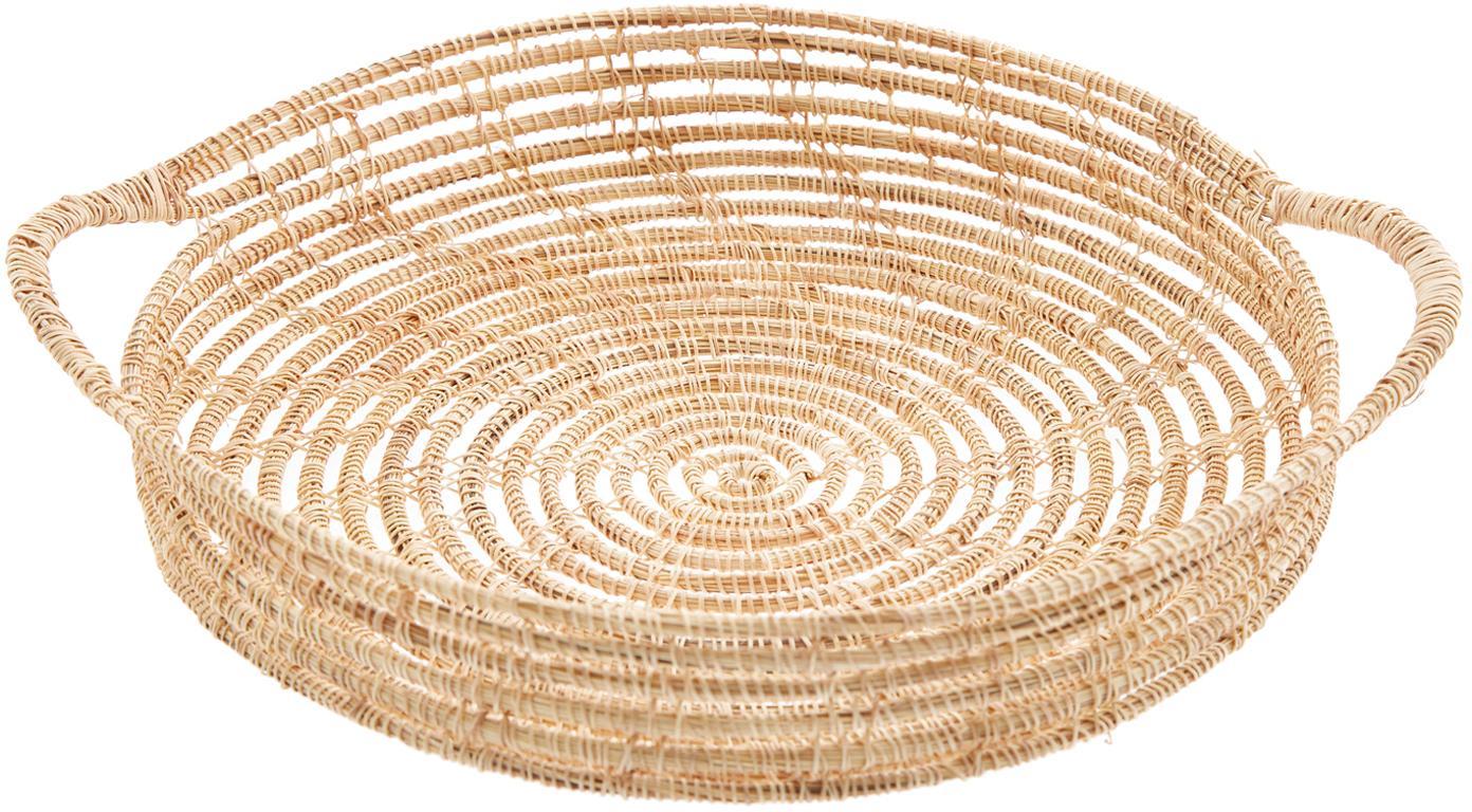 Rundes Tablett Emila aus Palmfasern, Palmfaser, Beige, Ø 30 cm