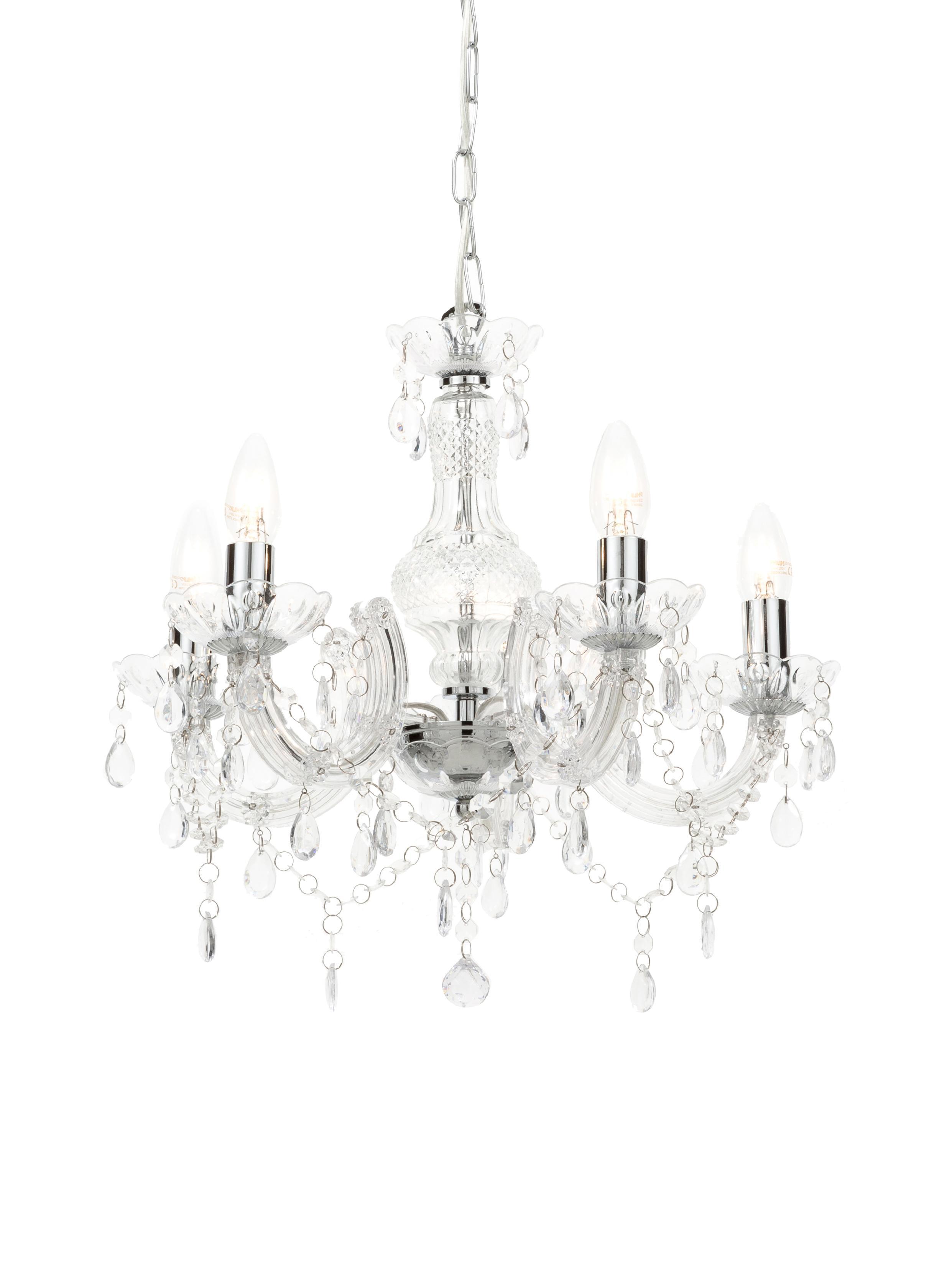 Lámpara de araña Marie Therese, Turquesa, blanco, Transparente, Ø 48 x Al 42 cm