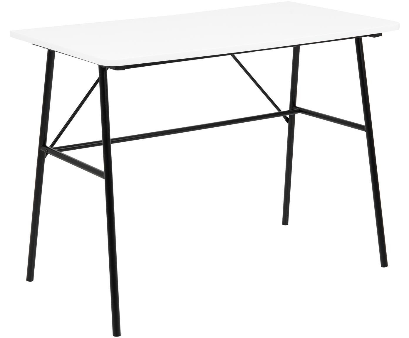 Schreibtisch Pascal mit weißer Platte, Tischplatte: Mitteldichte Holzfaserpla, Beine: Metall, pulverbeschichtet, Weiß, Schwarz, B 100 x T 55 cm