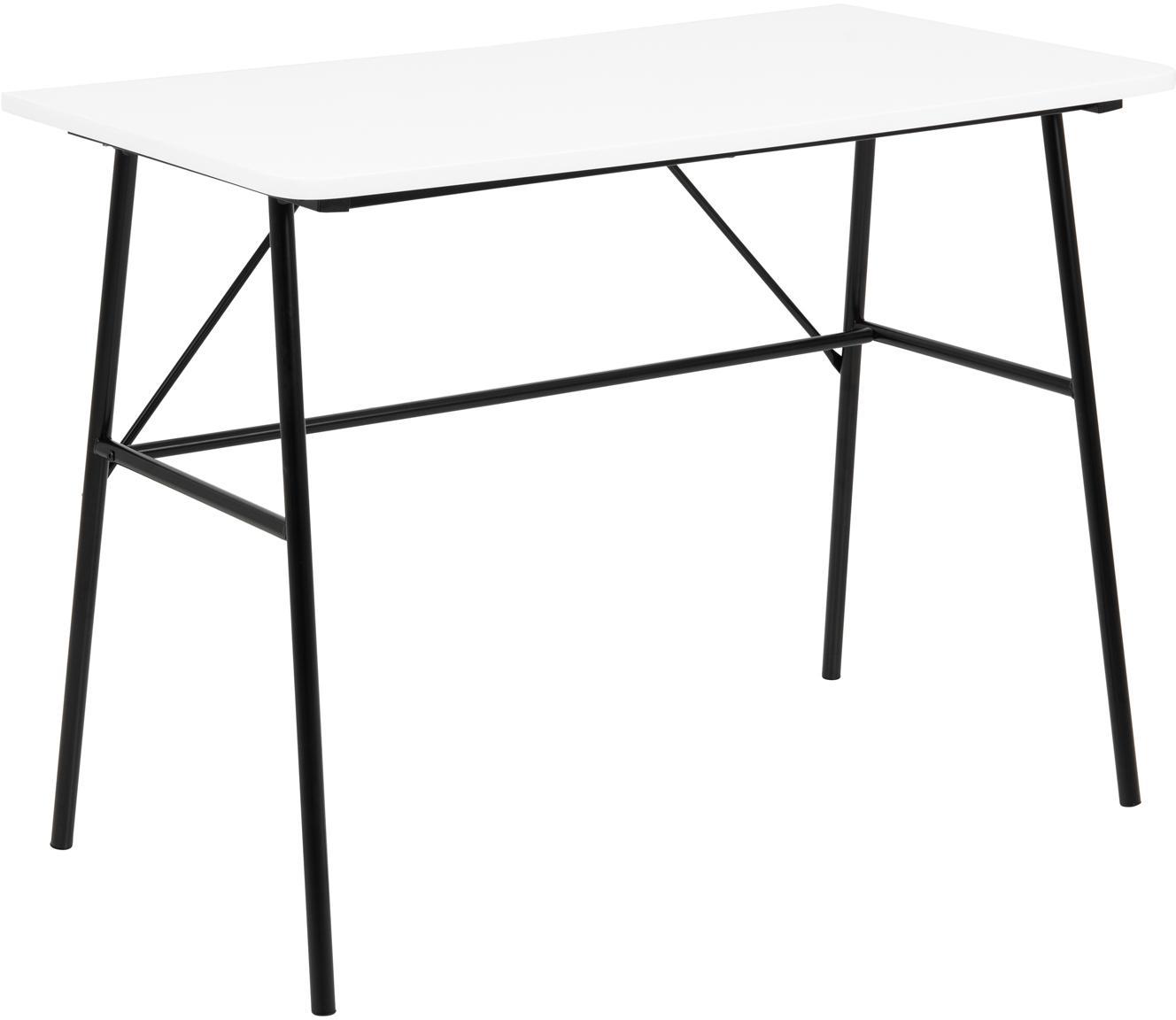 Escritorio Pascal, Tablero: tablero de fibras de dens, Patas: metal con pintura en polv, Blanco, negro, An 100 x F 55 cm