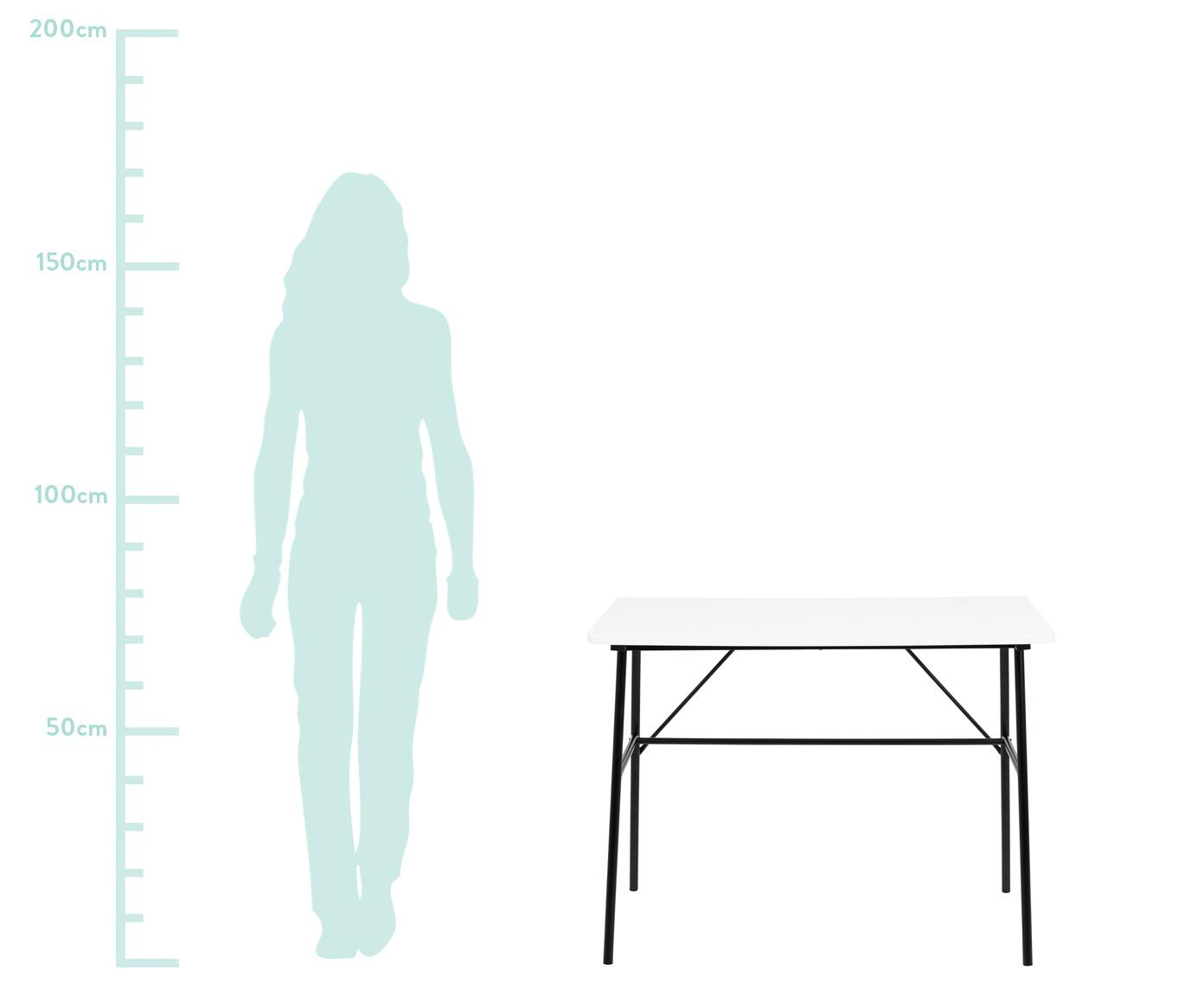 Bureau Pascal met wit blad, Tafelblad: MDF, Poten: gepoedercoat metaal, Wit, zwart, B 100 x D 55 cm