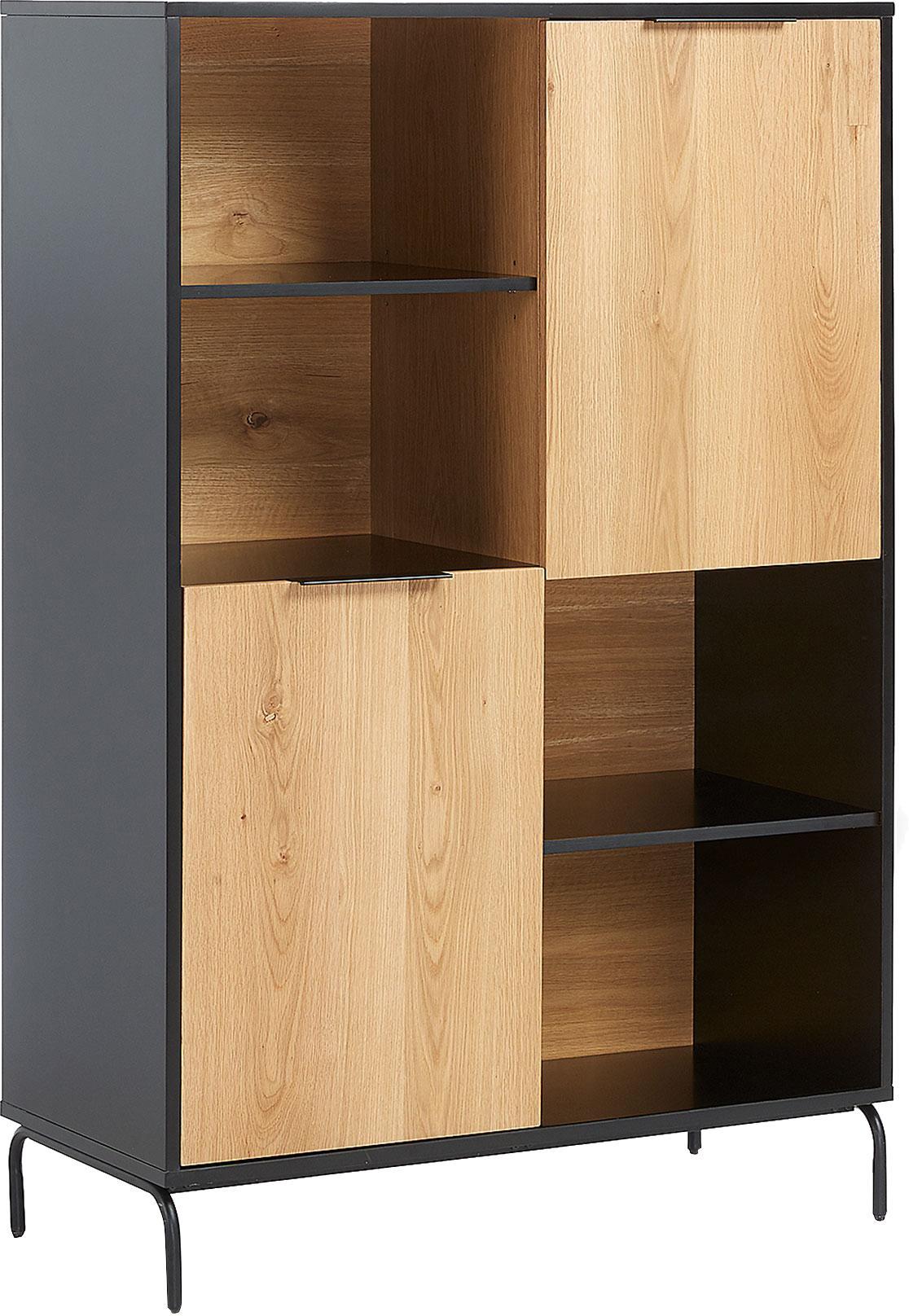 Highboard Stellar mit 2 Türen aus Eichenholzfurnier, Korpus: Mitteldichte Holzfaserpla, Front: Mitteldichte Holzfaserpla, Füße: Metall, beschichtet, Schwarz, Eichenholz, 100 x 150 cm
