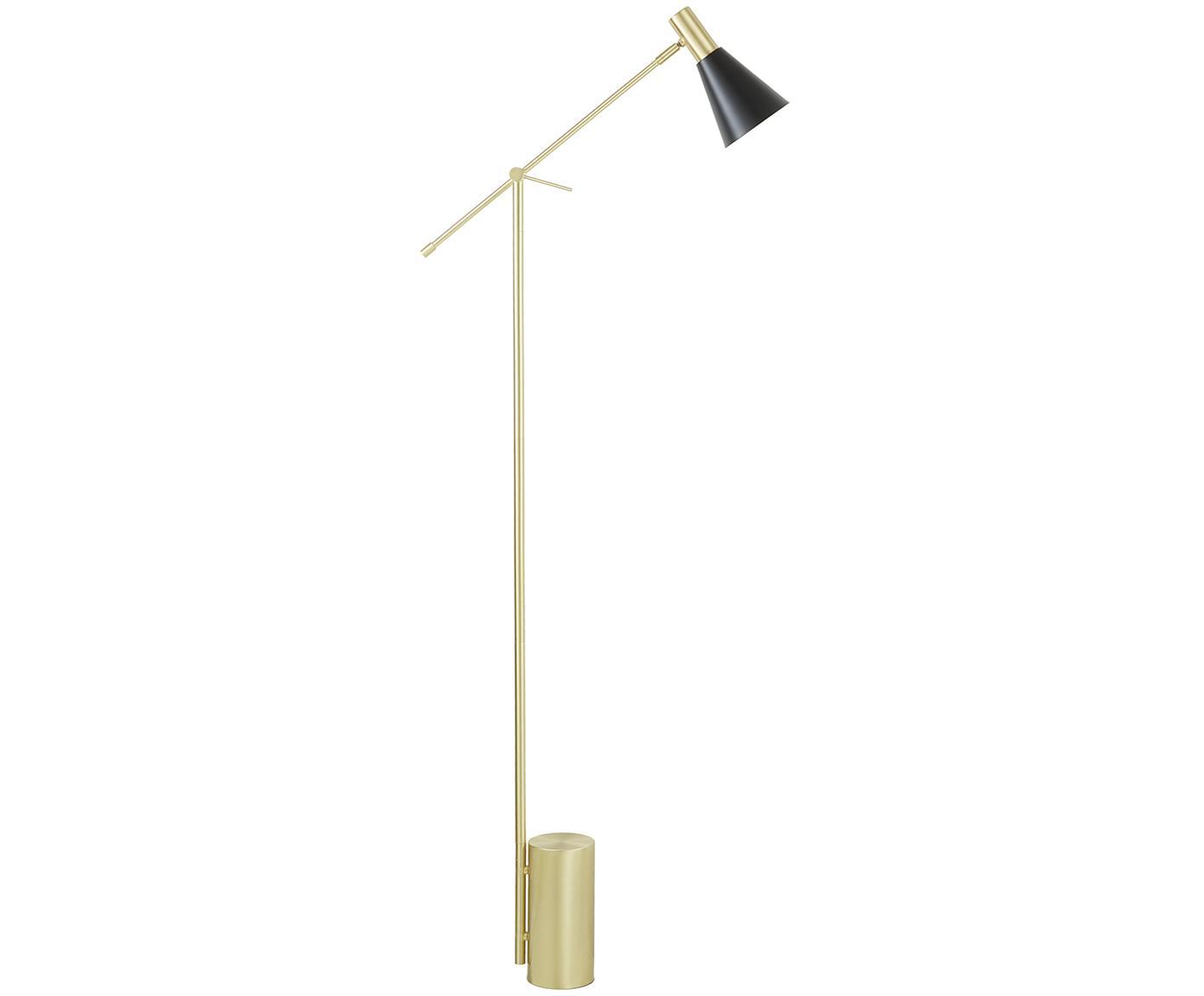 Vloerlamp Sia, Lampenkap: gepoedercoat metaal, Lampvoet: vermessingd metaal, Zwart, Ø 14 x H 162 cm