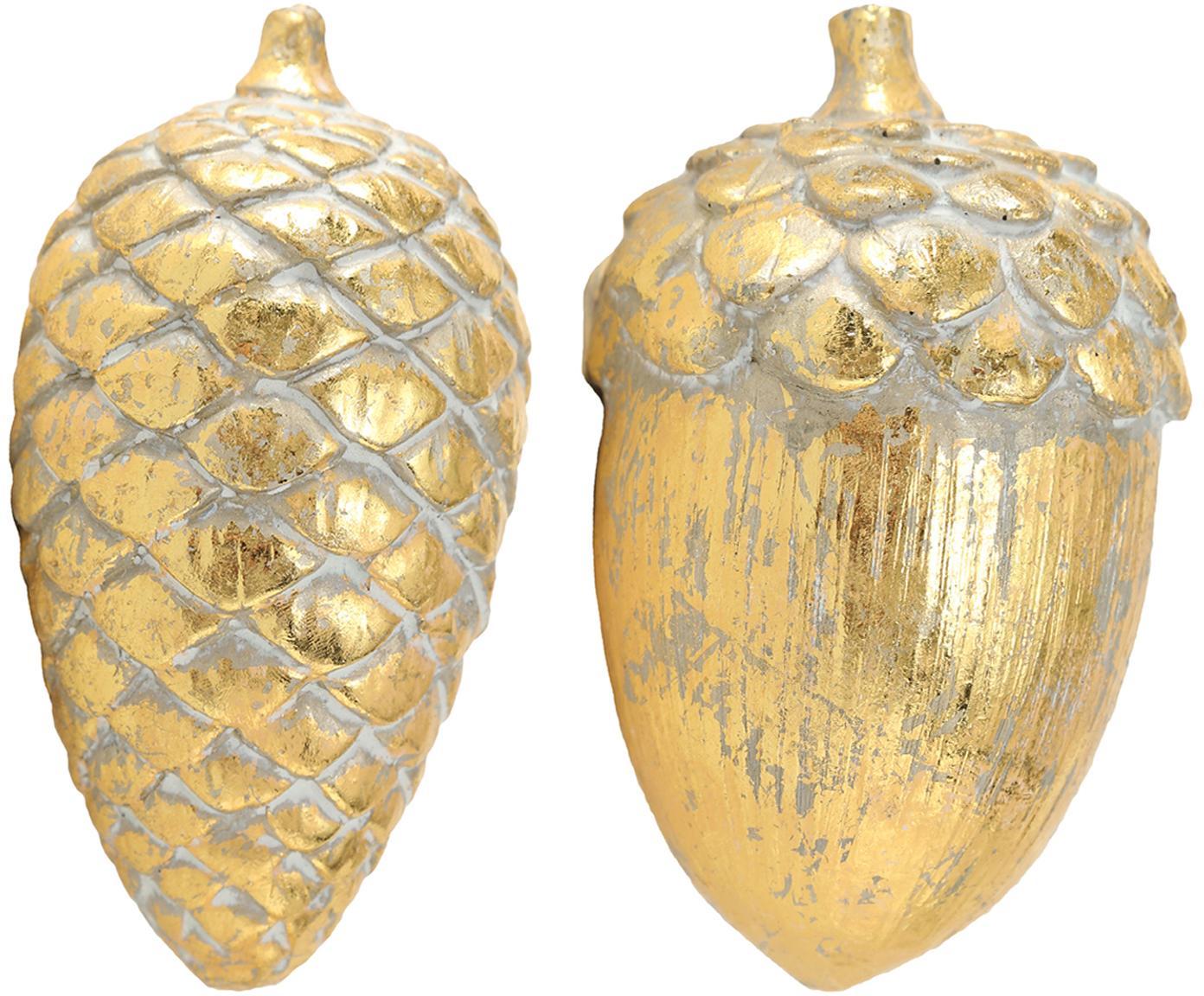 Komplet dekoracji Bacary, 2 elem., Żywica syntetyczna, Odcienie złotego, Ø 8 x W 15 cm
