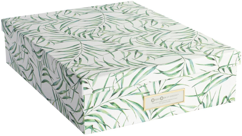 Opbergdoos Leaf, Stevig, gelamineerd karton, Wit, groen, 35 x 9 cm