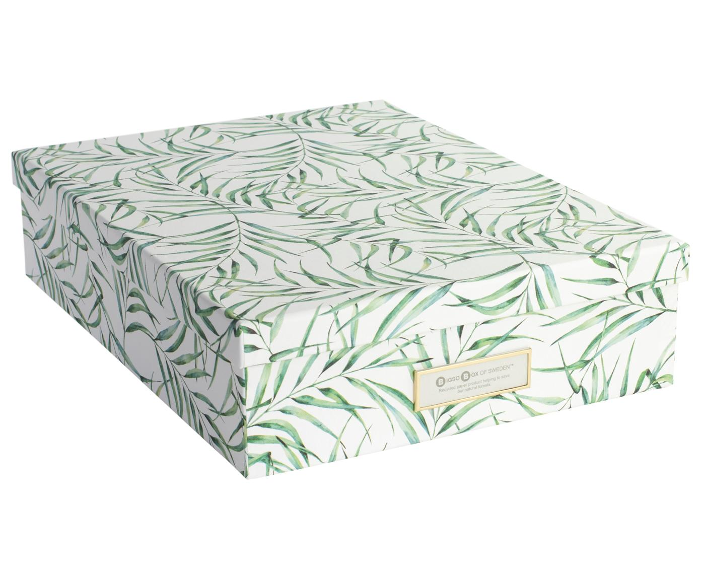 Caja Leaf, Cartón laminado macizo, Blanco, verde, An 35 x Al 9 cm