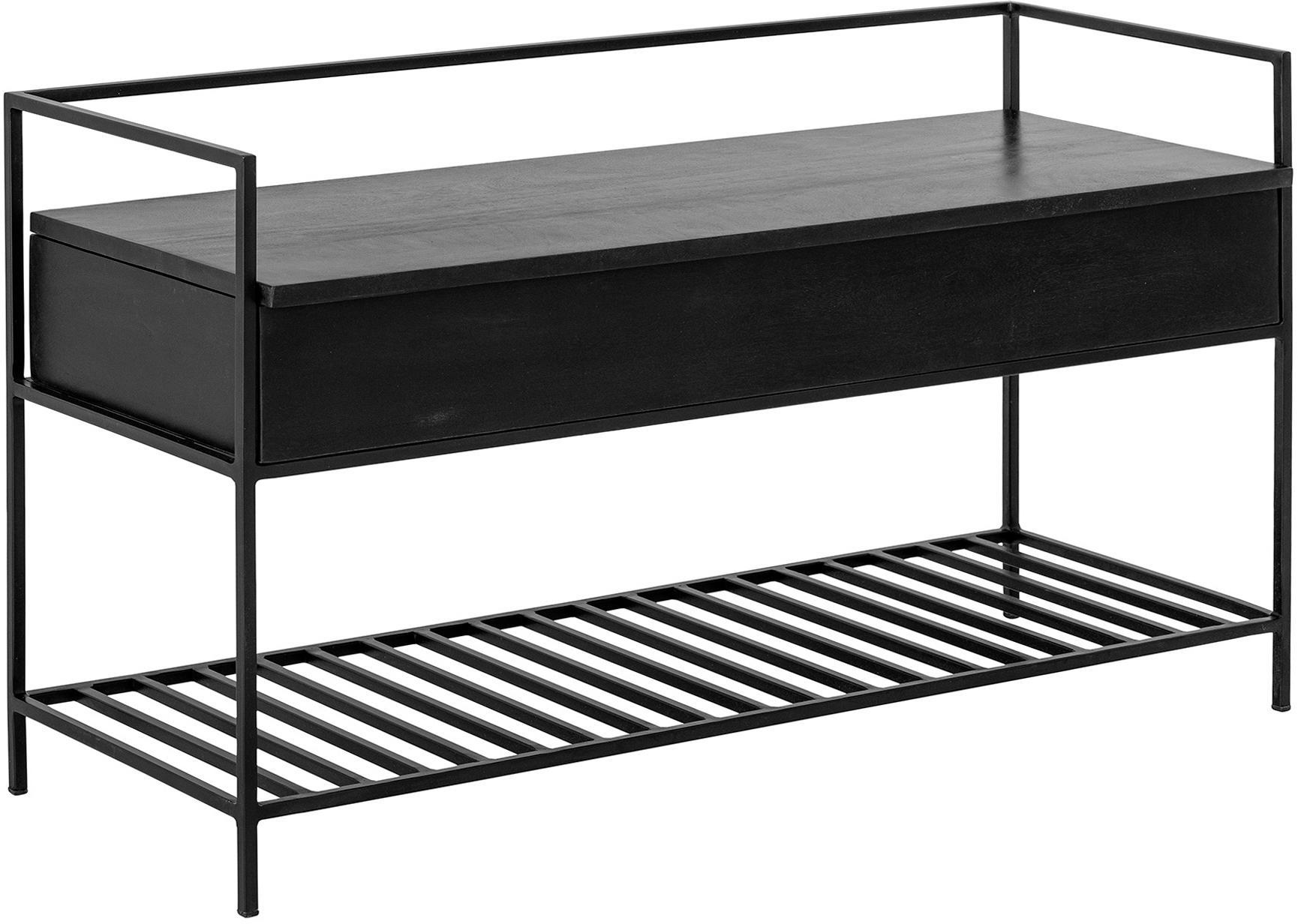 Banco Abelone, con espacio de almacenamiento, Asiento: madera de mango recubiert, Estructura: metal recubierto, Negro, An 102 x F 40 cm