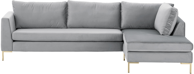 Fluwelen hoekbank Luna, Bekleding: fluweel (polyester), Frame: massief beukenhout, Poten: gegalvaniseerd metaal, Fluweel lichtgrijs, goudkleurig, B 280 x D 184 cm