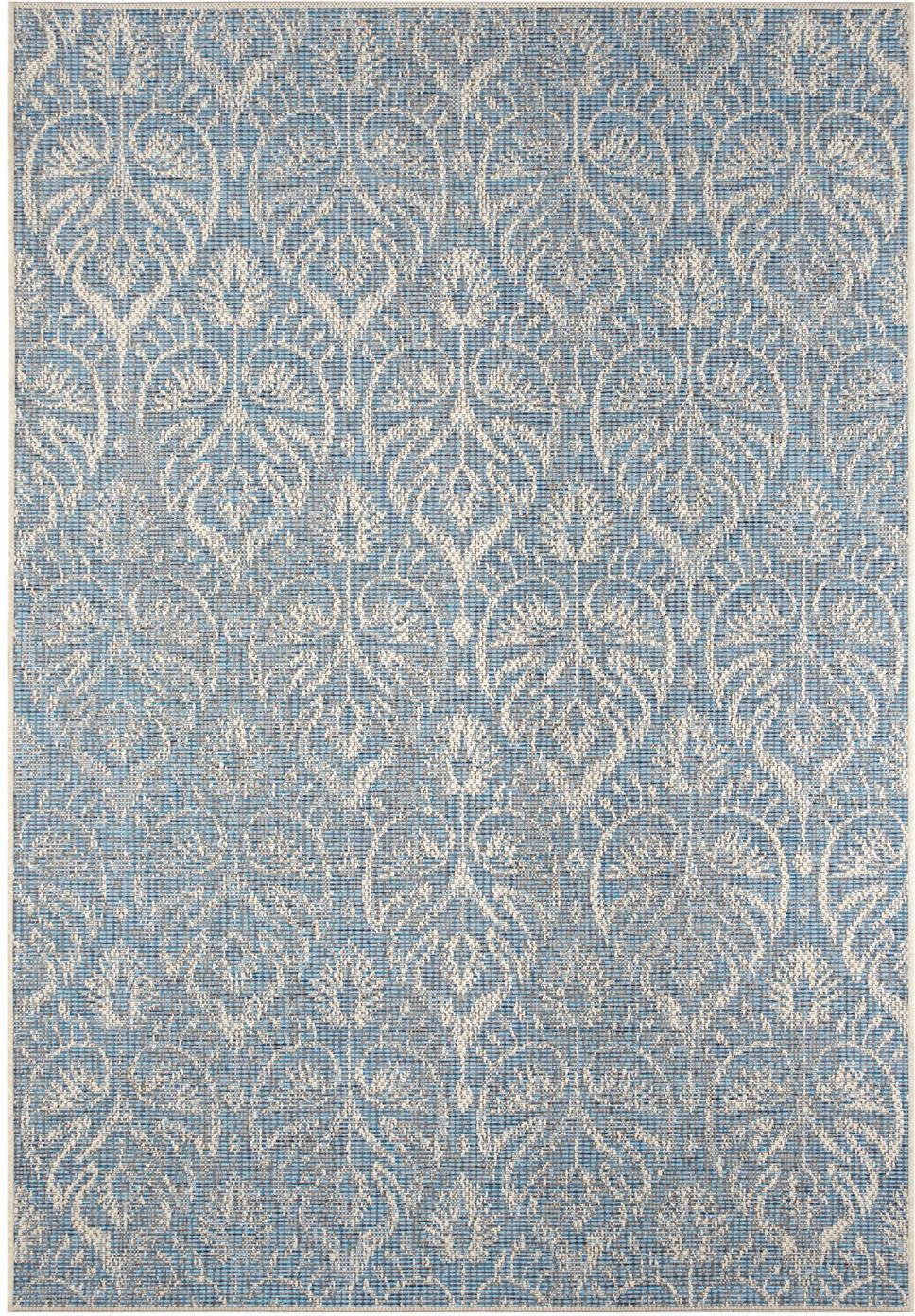 Design In- & Outdoor-Teppich Choy mit grafischem Muster, 100% Polypropylen, Hellblau, Beige, B 140 x L 200 cm (Größe S)