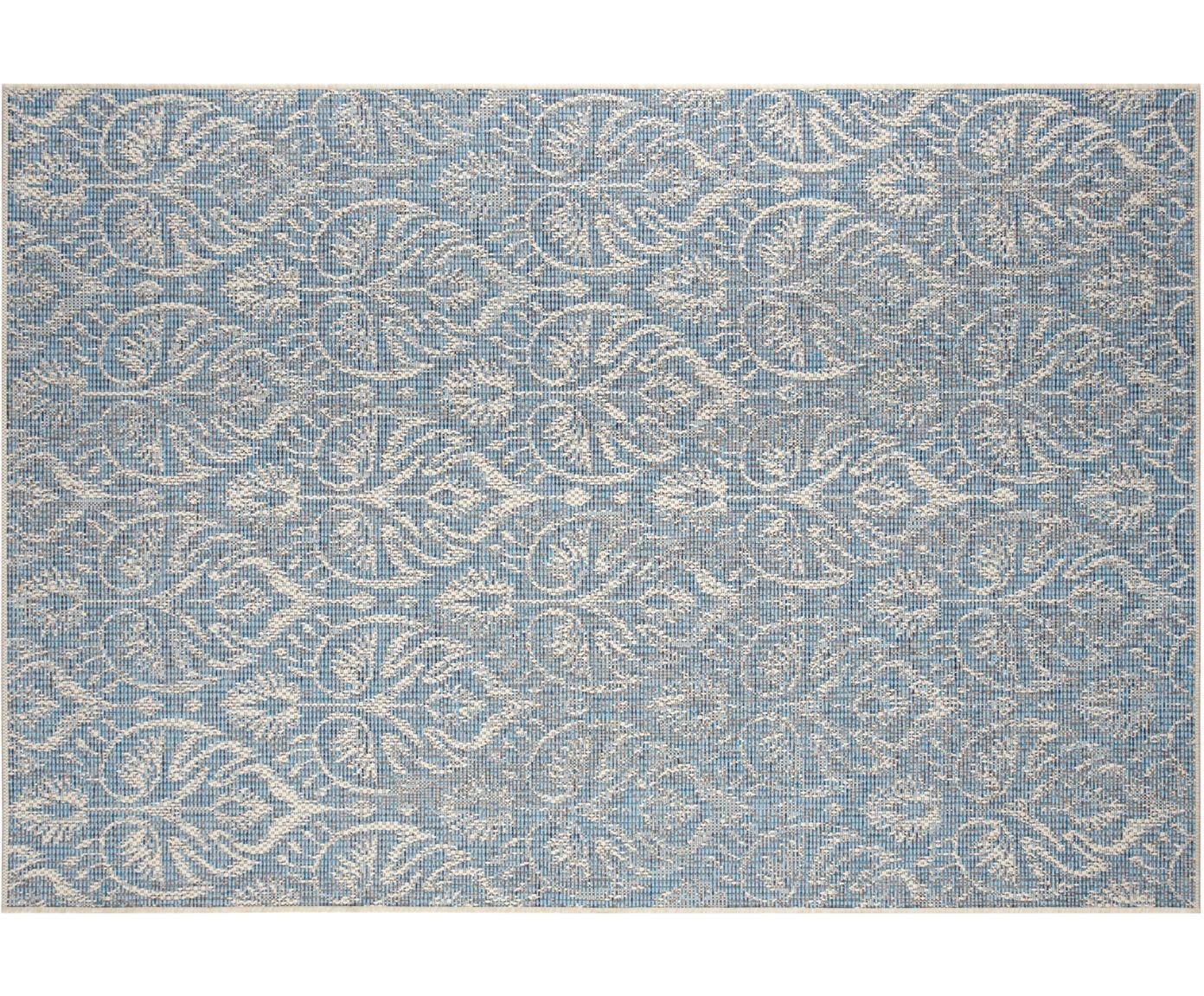 Design in- en outdoor vloerkleed Choy met grafisch patroon, Polypropyleen, Lichtblauw, beige, B 140 x L 200 cm (maat S)