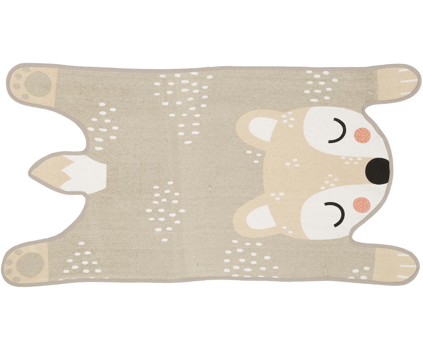 Flachgewebter Teppich Bear Bibi, Flor: Baumwolle, Beige, Creme, Schwarz, Rosa, 62 x 120 cm