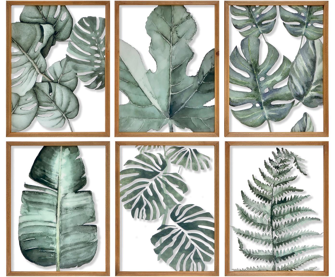 Set de cuadros Foliage, 6pzas., Verde, An 50 x Al 38 cm