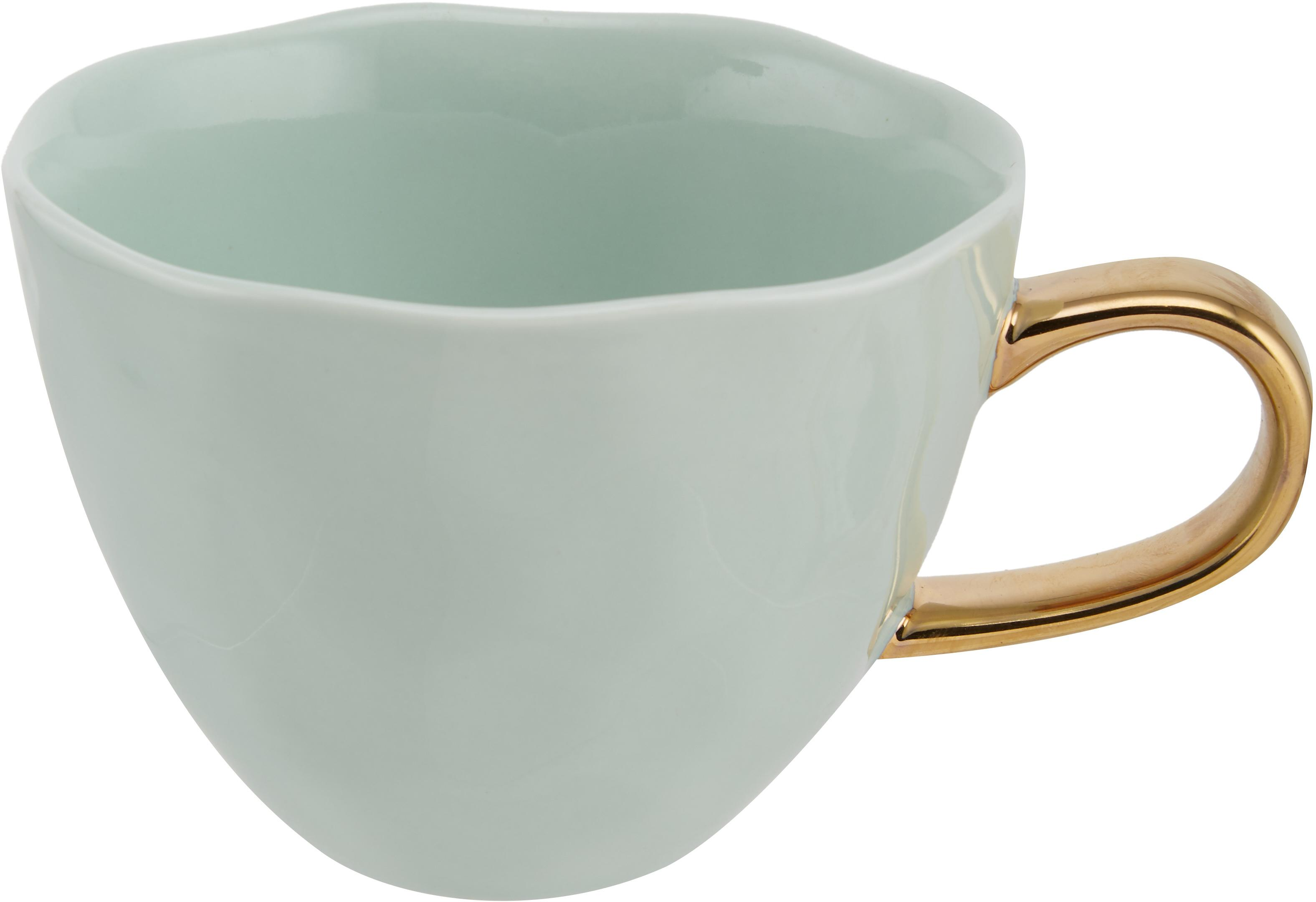 Tasse Good Morning in Mint mit goldenem Griff, Steingut, Mintgrün, Goldfarben, Ø 11 x H 8 cm