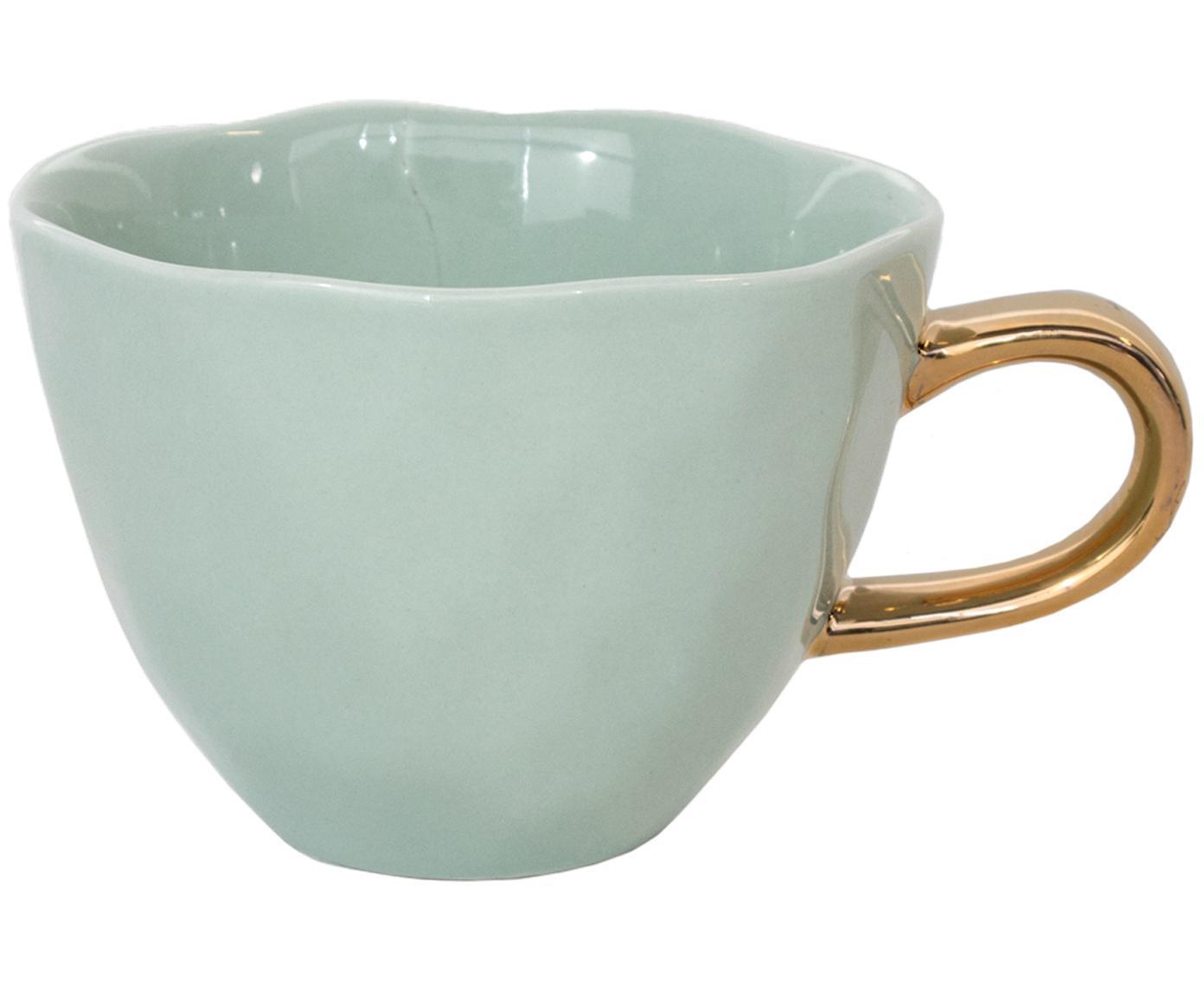 Tazza con manico dorato Good Morning, Terracotta, Verde menta, dorato, Ø 11 x Alt. 8 cm