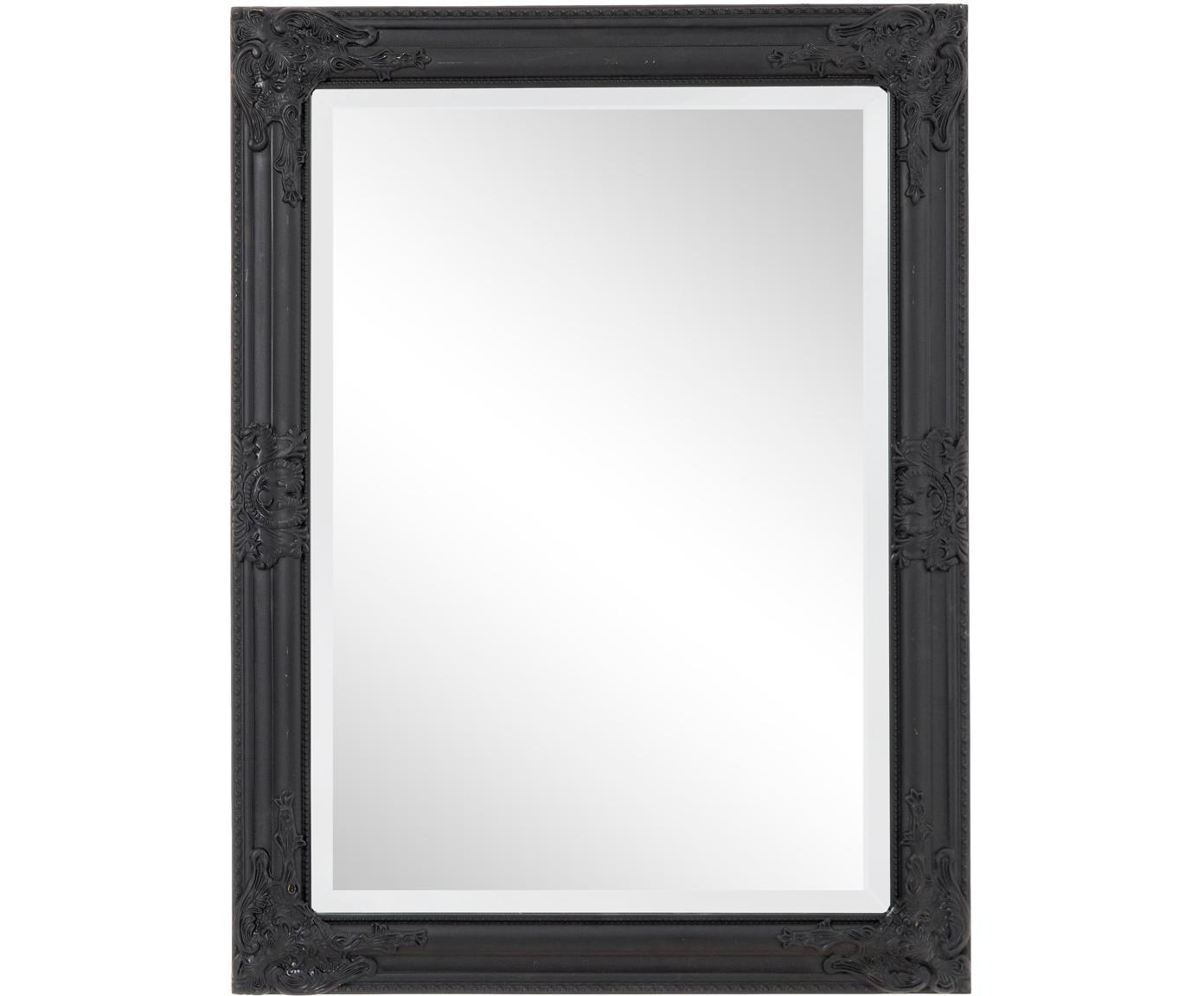 Wandspiegel Miro mit schwarzem Holzrahmen, Rahmen: Holz, beschichtet, Spiegelfläche: Spiegelglas, Schwarz, 62 x 82 cm
