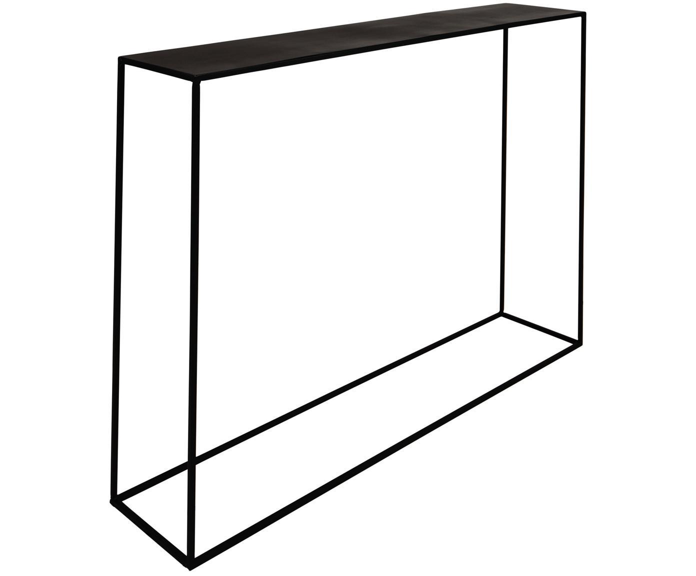 Metall-Konsole Expo in Schwarz, Metall, pulverbeschichtet, Schwarz, B 110 x T 25 cm