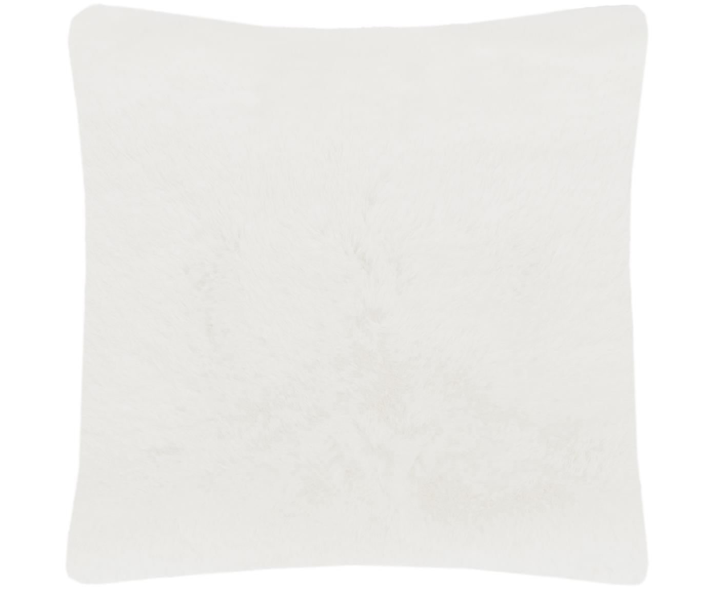 Sehr flauschige Kunstfell-Kissenhülle Mette, glatt, Vorderseite: 100% Polyester, Rückseite: 100% Polyester, Creme, 45 x 45 cm
