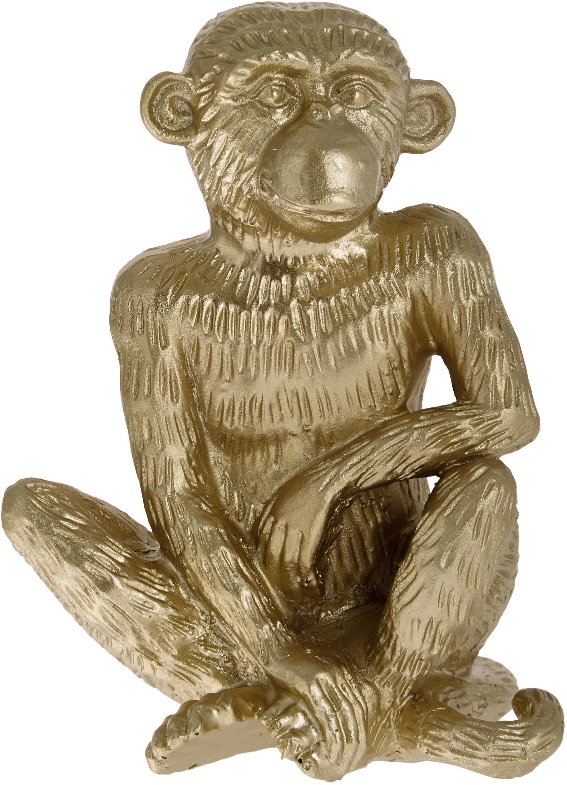 Pieza decorativa Monkey, Poliresina, Dorado, An 12 x Al 15 cm