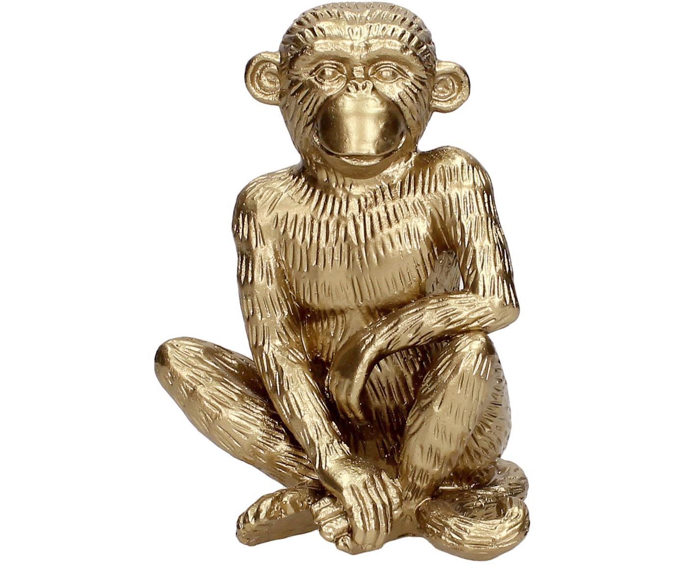 Deko-Objekt Monkey, Polyresin, Goldfarben, 12 x 15 cm