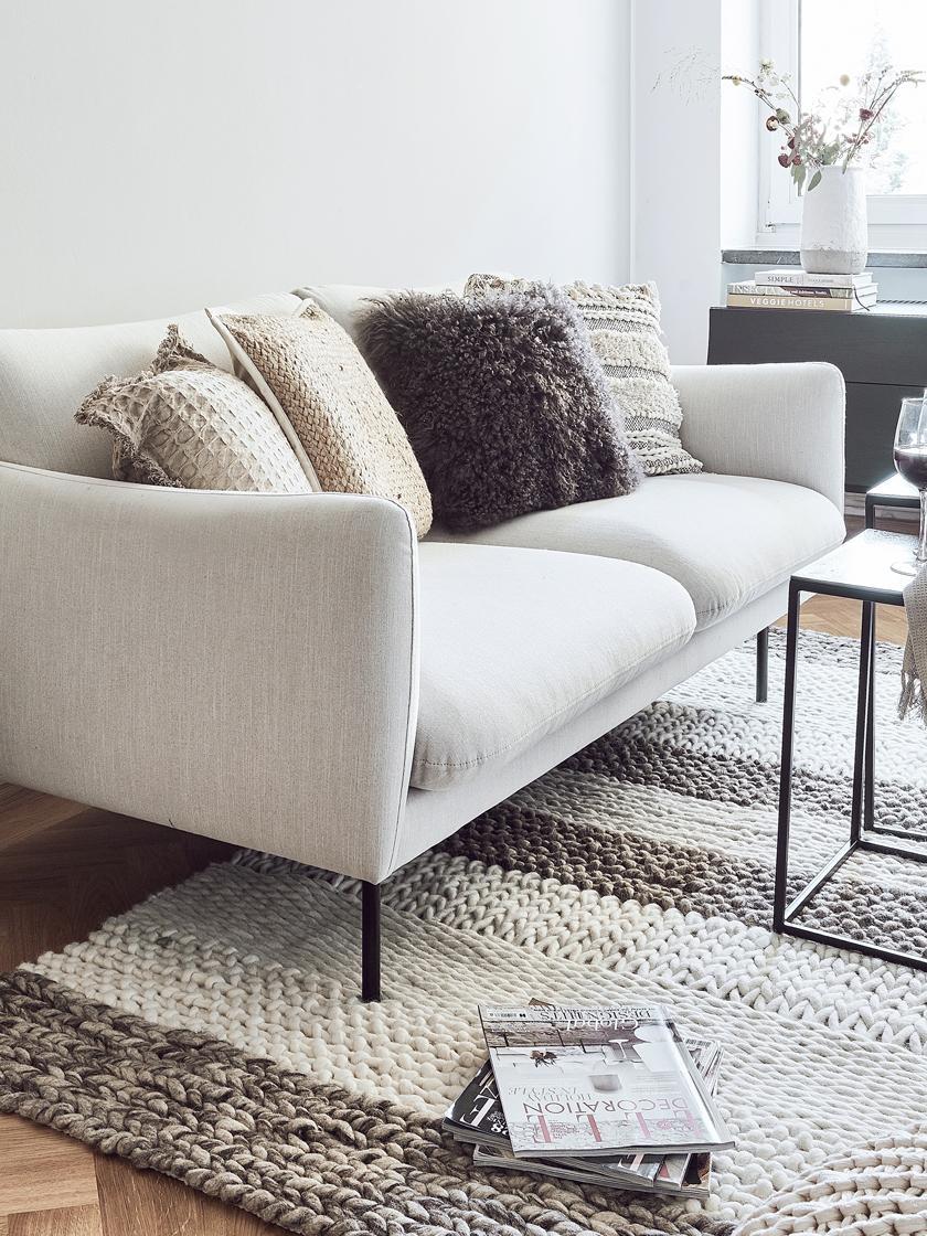 Sofa Moby (2-Sitzer), Bezug: Polyester Der hochwertige, Gestell: Massives Kiefernholz, Füße: Metall, pulverbeschichtet, Webstoff Beige, B 170 x T 95 cm