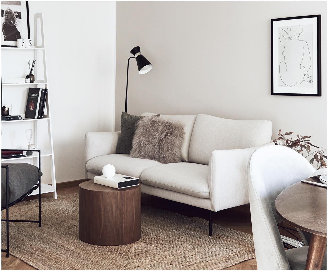 Bank Moby (2-zits), Bekleding: polyester, Frame: massief grenenhout, Poten: gepoedercoat metaal, Beige, B 170 x D 95 cm