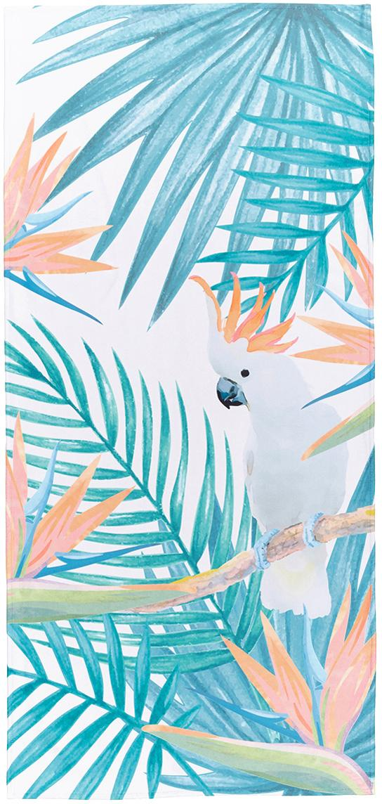 Leichtes Strandtuch Tropic mit tropischem Print, 55% Polyester, 45% Baumwolle Sehr leichte Qualität, 340 g/m², Beige, Grün, Orange, 70 x 150 cm