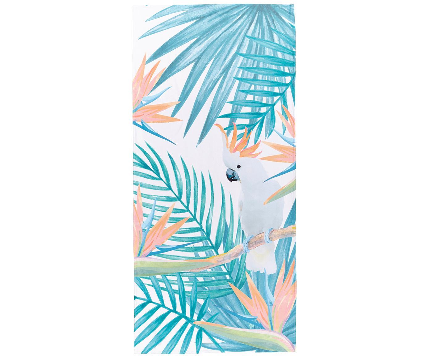 Telo mare leggero con stampa tropicale Tropic, 55% poliestere, 45% cotone, qualità molto leggera 340 g/m², Beige, verde, arancione, Larg. 70 x Lung. 150 cm