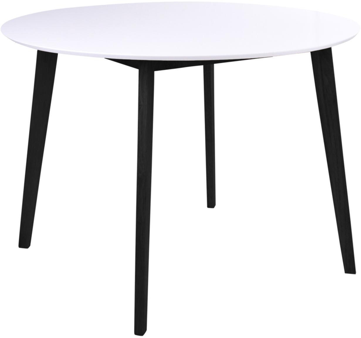 Mesa de comedor redonda Vojens, Tablero: tablero de fibras de dens, Patas: madera de caucho, Blanco, negro, Ø 105 x Al 75 cm