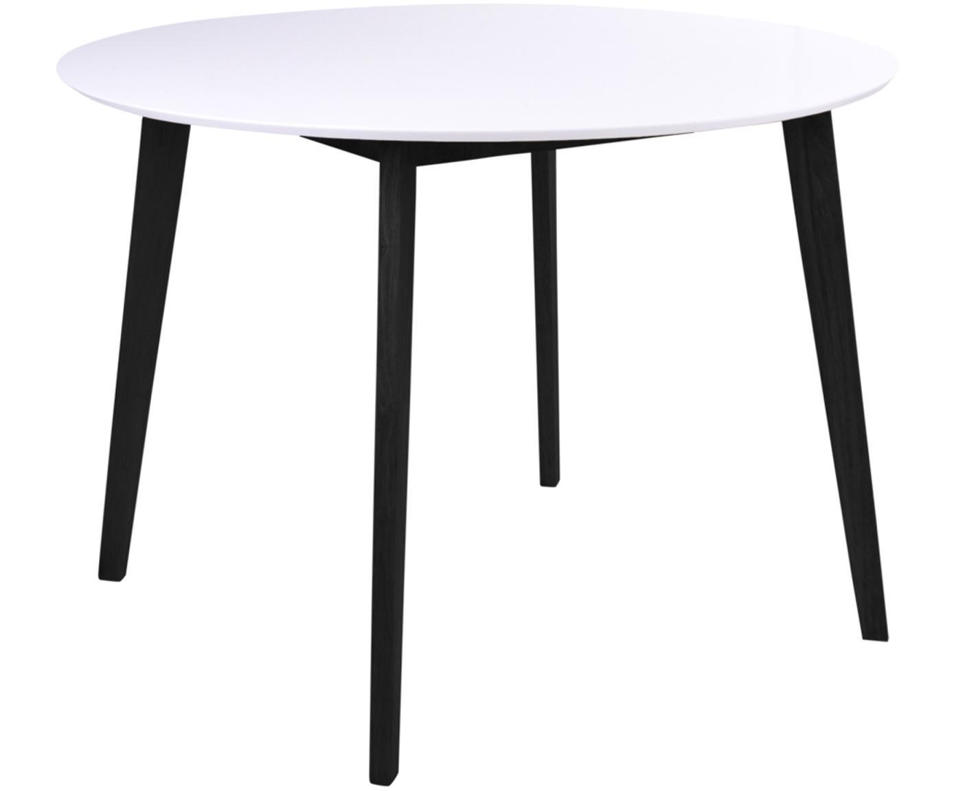Ronde eettafel Vojens, MDF, rubberhout, Wit, zwart, Ø 105 x H 75 cm