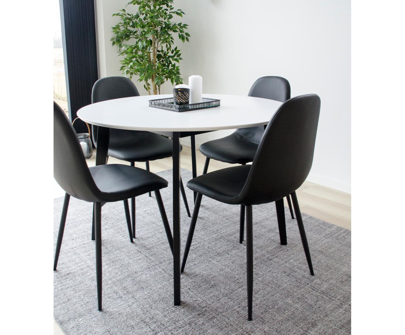Tavolo rotondo con piano bianco Vojens, Piano d'appoggio: pannello di fibra a media, Piedini: legno di caucciù, Bianco, nero, Ø 105 x Alt. 75 cm