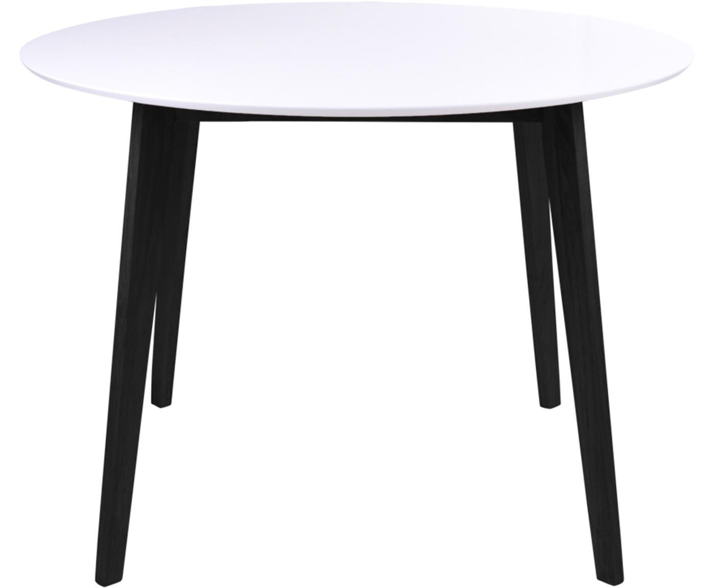 Table ronde avec plateau blanc Vojens, Blanc, noir