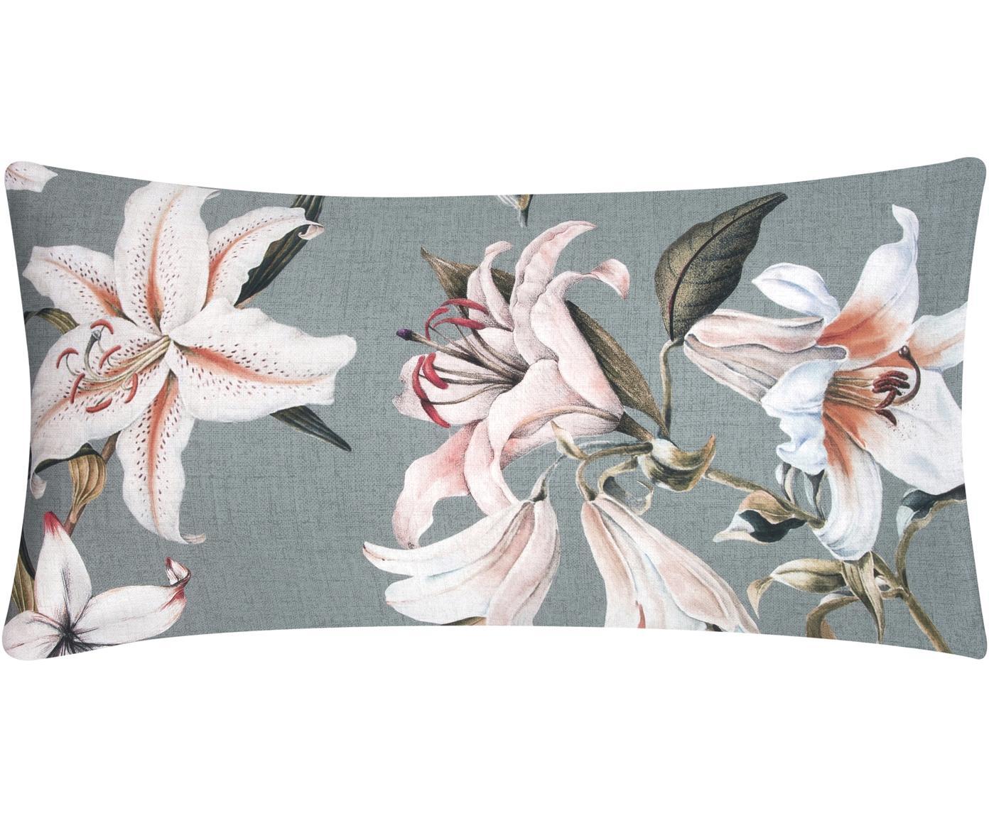 Baumwollsatin-Kissenbezüge Flori mit Blumen-Print, 2 Stück, Webart: Satin Fadendichte 210 TC,, Vorderseite: Blau, Cremeweiß Rückseite: Blau, 40 x 80 cm