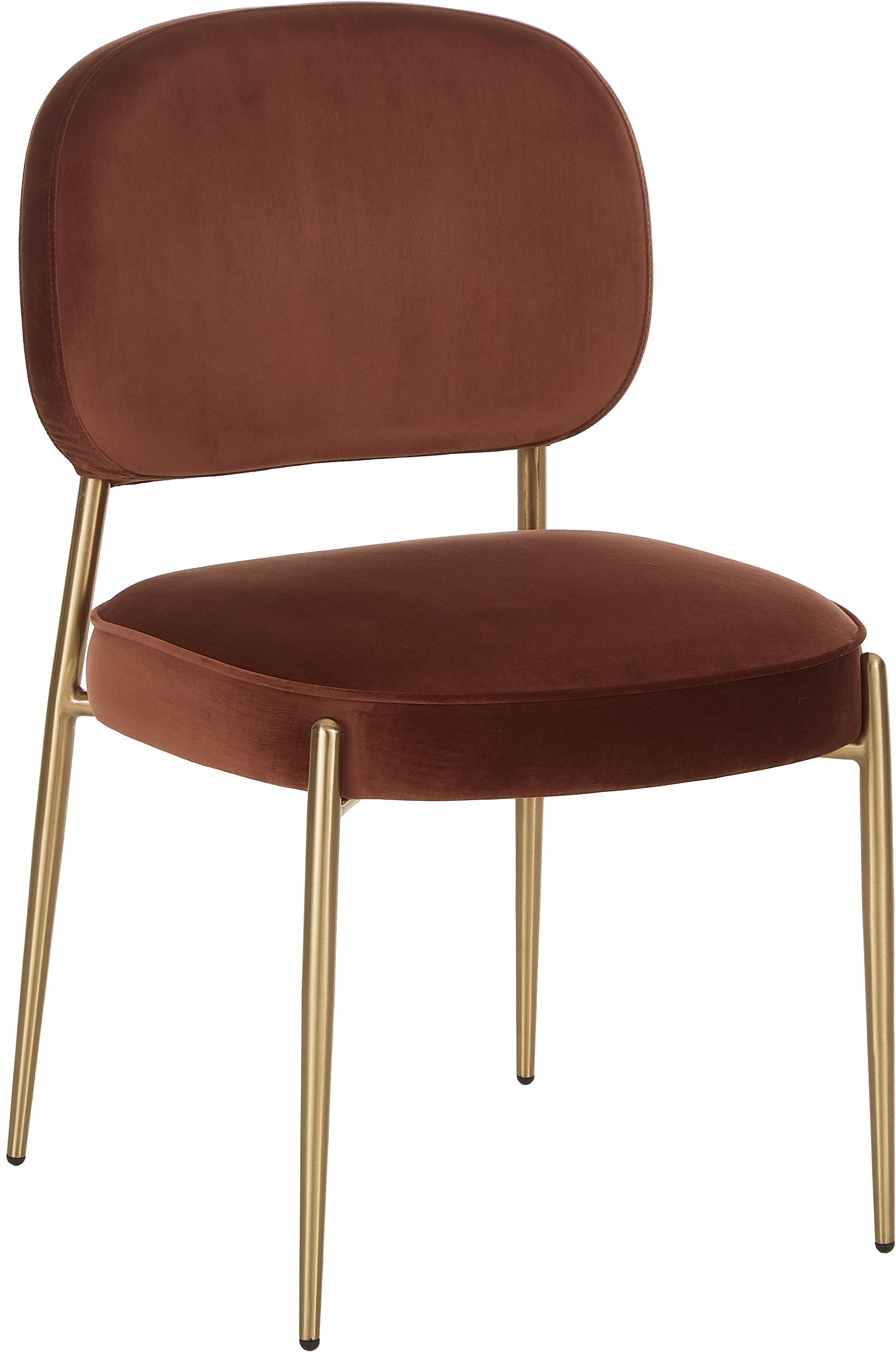 Sedia imbottita in velluto Viggo, Rivestimento: velluto (poliestere) 50.0, Velluto marrone, gambe oro, Larg. 49 x Prof. 66 cm