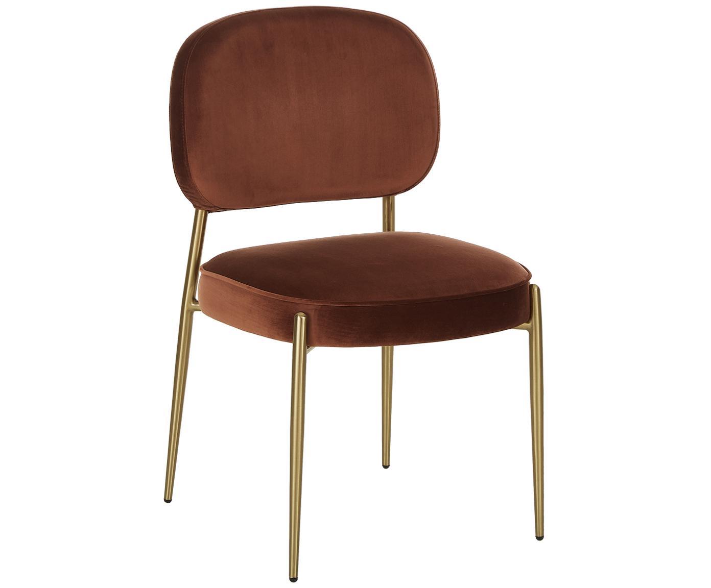 Krzesło tapicerowane z aksamitu Viggo, Tapicerka: aksamit (poliester) 50 00, Aksamitny brązowy, nogi: złoty, S 49 x G 66 cm