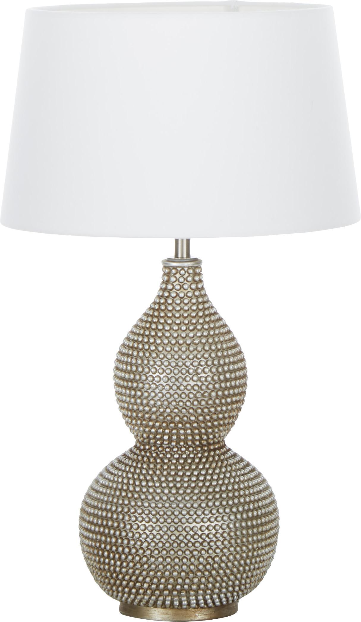 Grosse Boho-Tischlampe Lofty, Lampenschirm: Polyester, Weiss, Ø 33 x H 58 cm