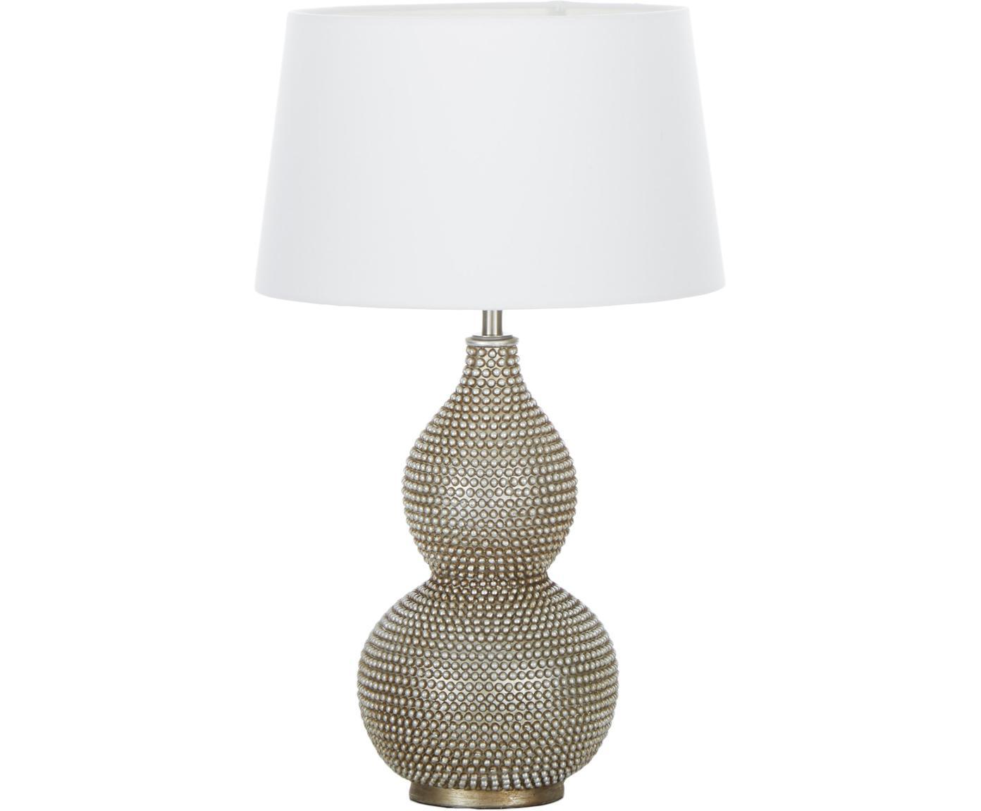 Boho-Tischleuchte Lofty, Lampenfuß: Metall, beschichtet, Lampenschirm: Polyester, Weiß, Ø 33 x H 58 cm