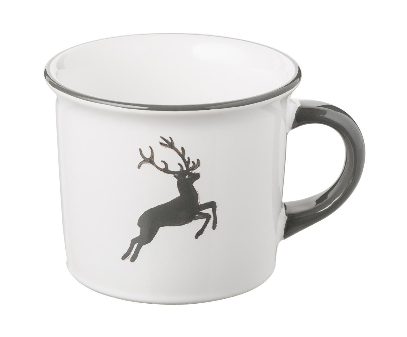 Ręcznie malowany kubek do kawy Classic Grauer Hirsch, Ceramika, Szary, biały, 240 ml