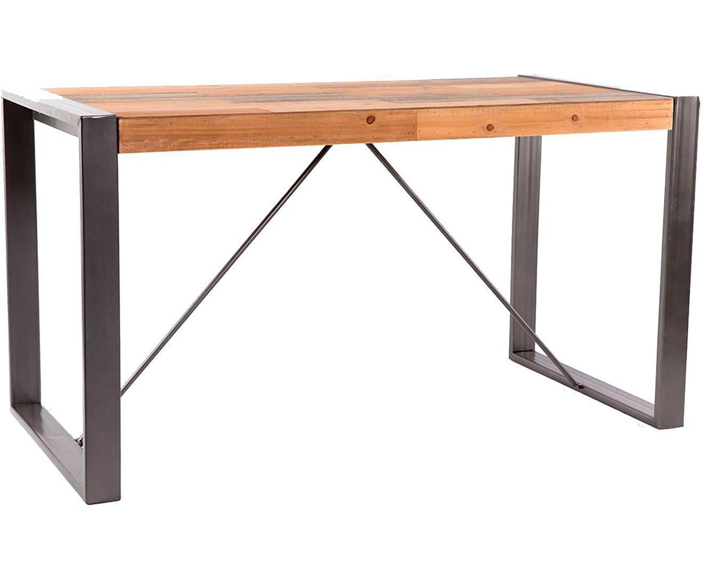 Mesa de comedor Amy, Tablero: tablero de fibras de dens, Patas: hierro, Natural, negro, An 140 x F 76 cm