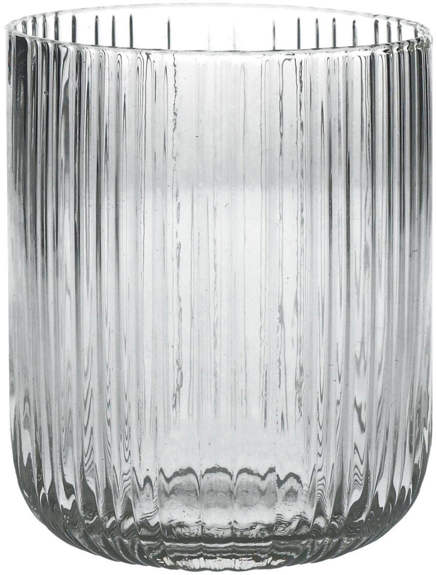 Waterglazen Canise met groefstructuur, 6er-set, Glas, Transparant, Ø 8 x H 9 cm
