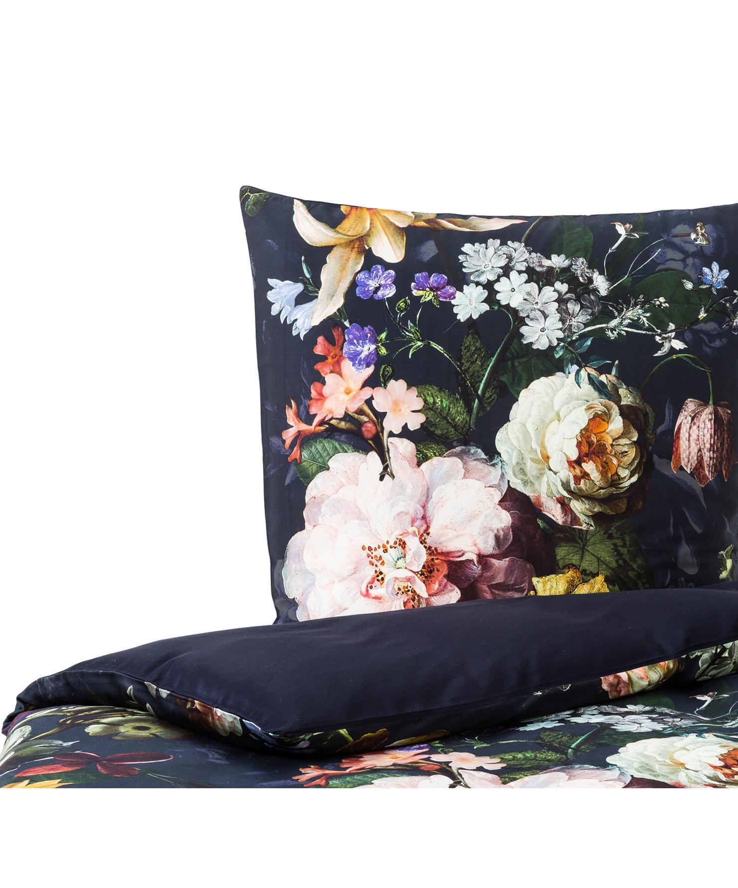Baumwollsatin-Bettwäsche Fleur mit Blumen-Muster, Webart: Satin Fadendichte 209 TC,, Vorderseite: Nachtblau, Weiss, GelbRückseite: Nachtblau, 135 x 200 cm + 1 Kissen 80 x 80 cm