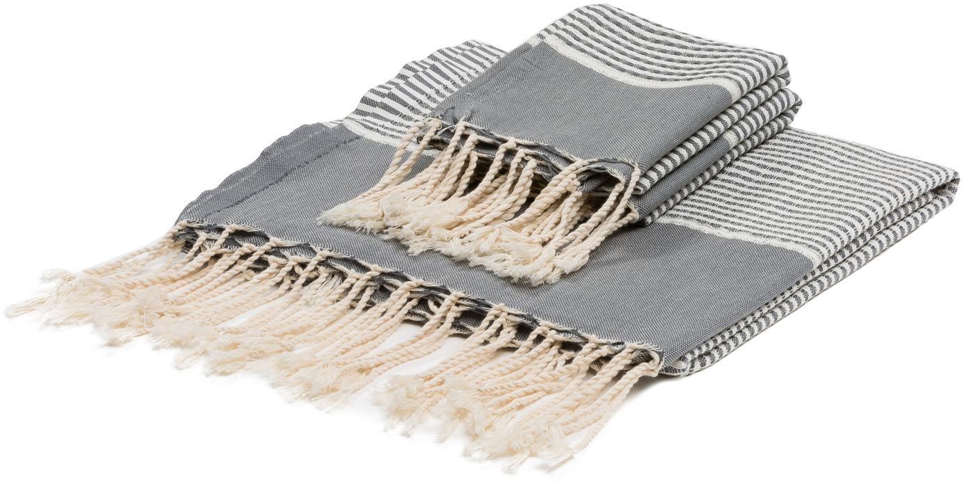 Set 3 asciugamani con bordo in lurex Copenhague, 100% cotone con fili di lurex Qualità molto leggera, 200 g/m², Grigio, argento, bianco, Set in varie misure