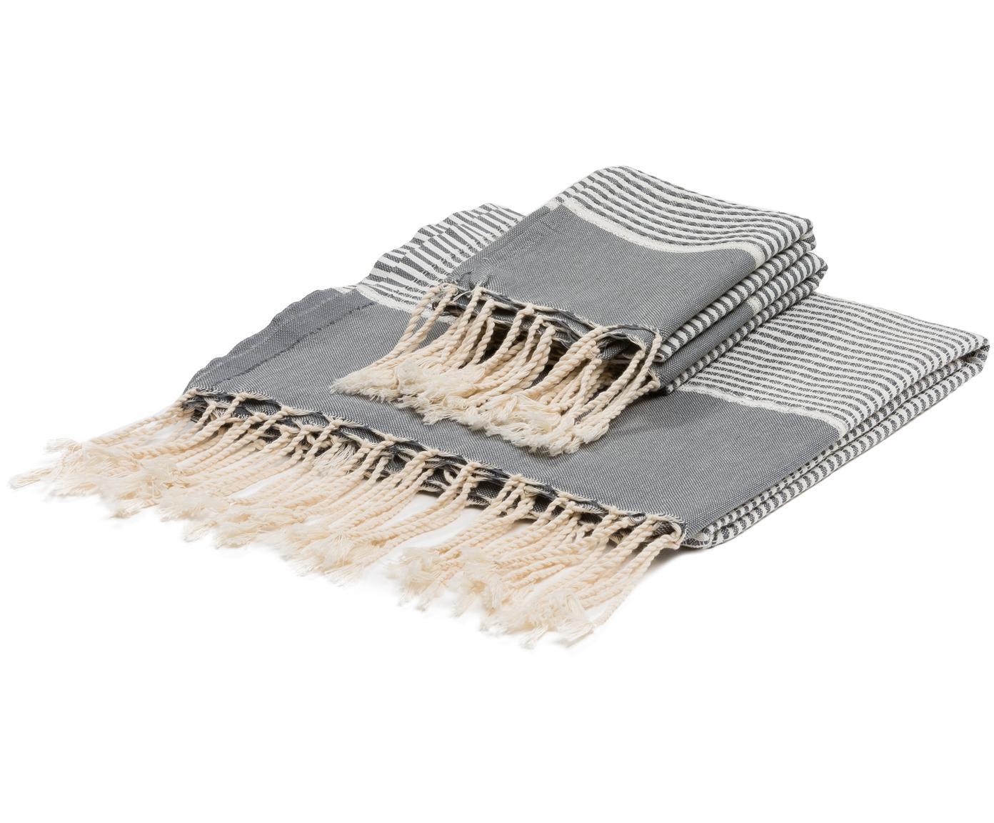 Set di 3 asciugamani con bordo in lurex Copenhague, 100% cotone con fili di lurex Qualità molto leggera, 200 g/m², Grigio, argento, bianco, Diverse dimensioni