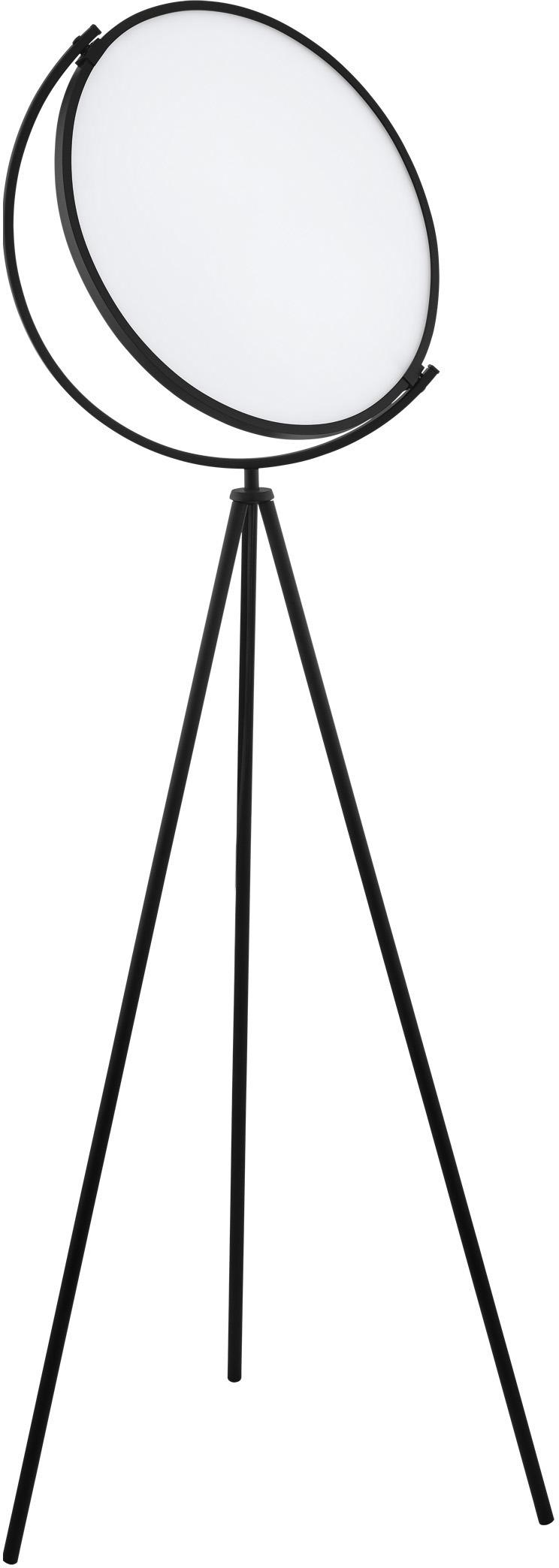 LED Tripod Stehlampe Renitale, Diffusorscheibe: Kunststoff, Lampenfuß: Metall, lackiert, Schwarz, Ø 43 x H 153 cm