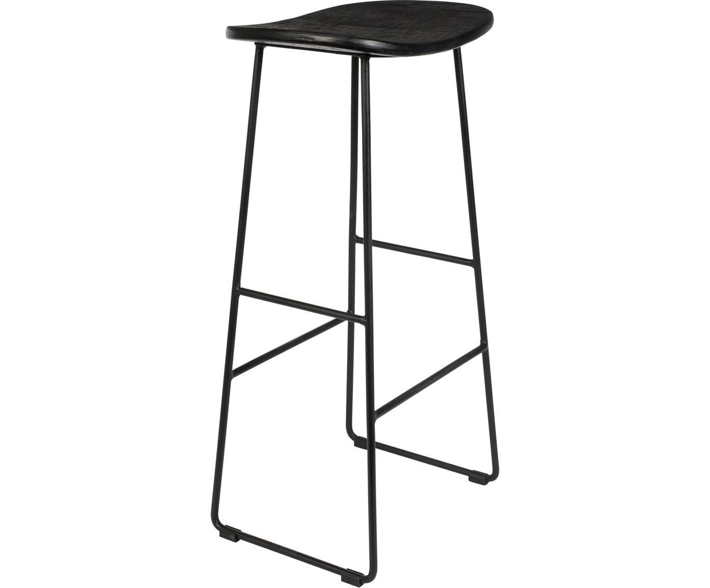 Sgabello da bar in nero Tangle, Seduta: teak riciclato laccato, Gambe: metallo verniciato a polv, Nero, Larg. 40 x Alt. 80 cm