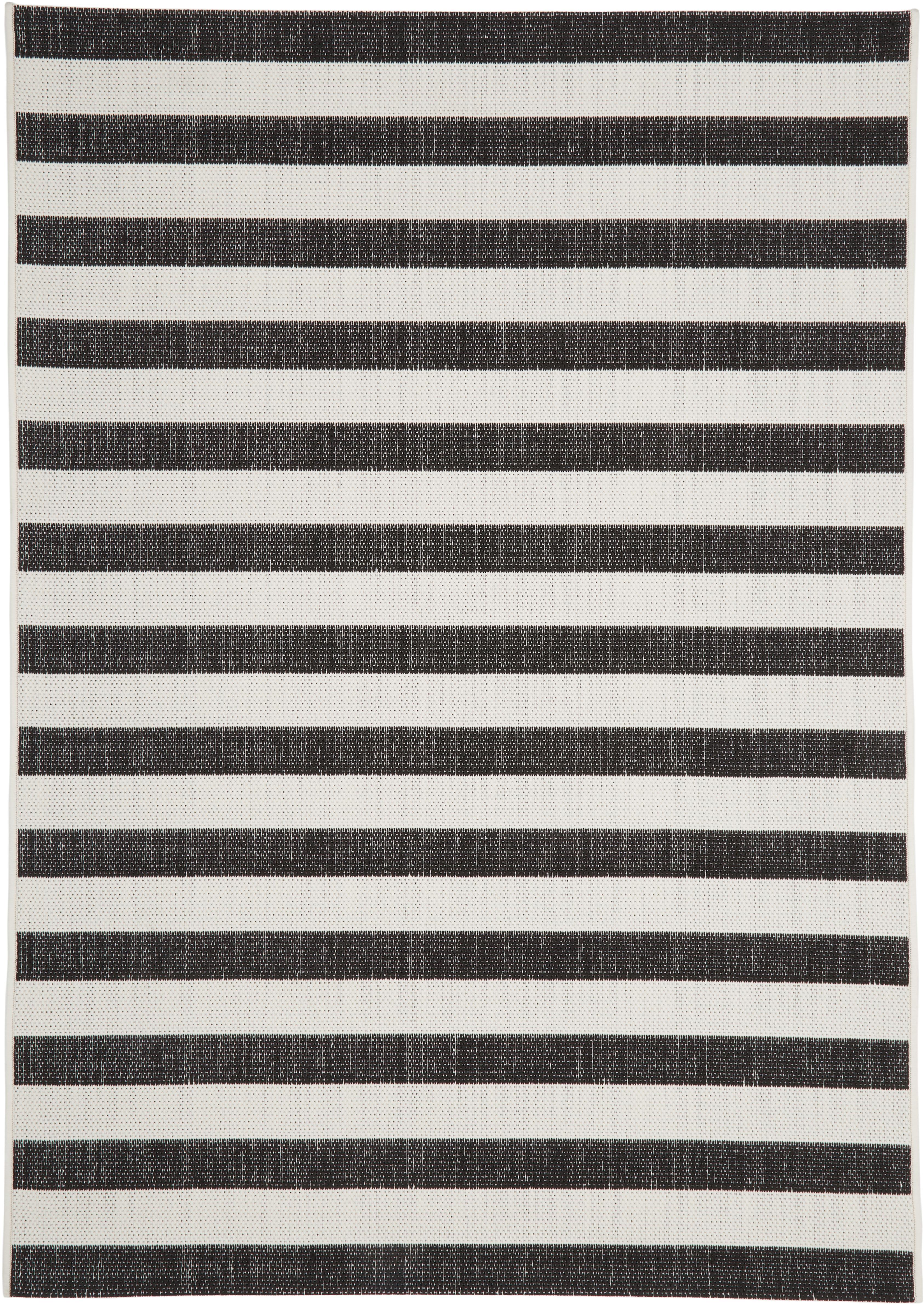 Gestreifter In- & Outdoor-Teppich Axa in Schwarz/Weiß, Flor: 100% Polypropylen, Cremeweiß, Schwarz, B 120 x L 170 cm (Größe S)